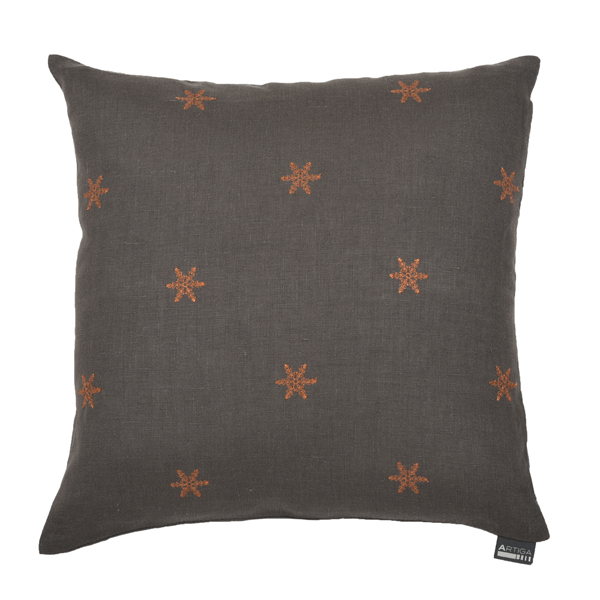 coussin carr 40 x 40 cm taupe floc cuivre artiga. Black Bedroom Furniture Sets. Home Design Ideas