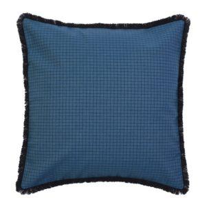 Coussin carré frange - 40x40 cm SAUVELADE PETROLE