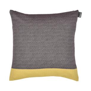 Coussin carré tisage chevron coton recylclé 40x40 AUBERGINE/JONQUILLE