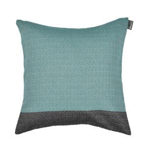Coussin carré tisage chevron coton recylclé 40x40 EMERAUDE/NOIR