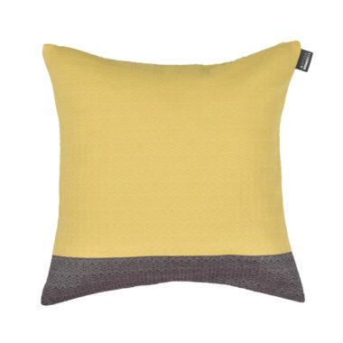 Coussin carré tissage chevron coton recylclé 40x40 JONQUILLE/AUBERGINE