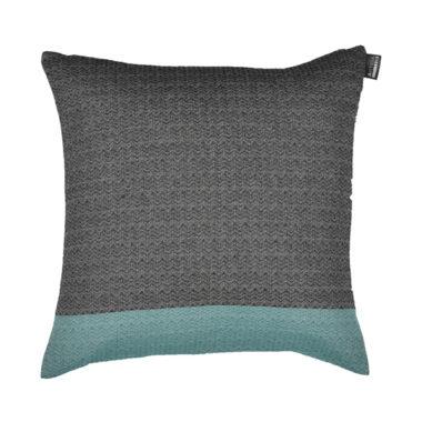 Coussin carré tisage chevron coton recylclé 40x40 NOIR/EMERAUDE