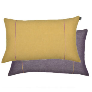 Coussin rectangle biface 70x45cm ELAINE JAUNE/PARME