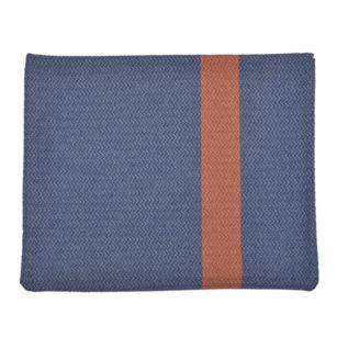 Plaid carré 150x150cm tissage chevron en coton recyclé BLEU/TUILE