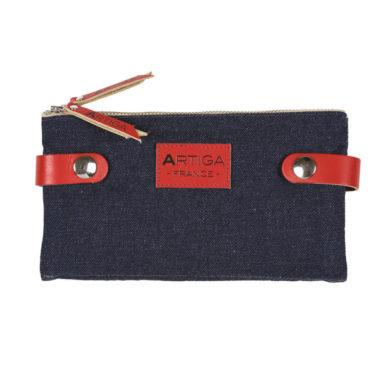 Porte-cartes en jean recylé JEAN/TYROSSE BLEU